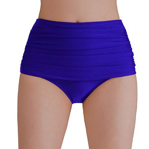 Tournesol Women's Swim Bottoms High Waist Swimsuit Briefs Tummy Control Full Coverage Bathing Suit Tankini Bottoms Blue