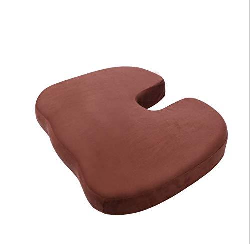 DUIPENGFEI Beautiful buttocks cushion flocking gel memory foam chair cushion, hip cushion sofa cushion, brown, 45 * 35 * 6cm