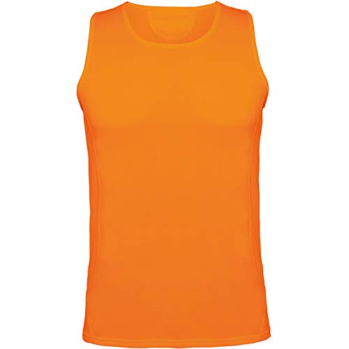 Guuja Herren Funktionsshirt ärmellos Tanktop Tank Top in Flou orange in XXL