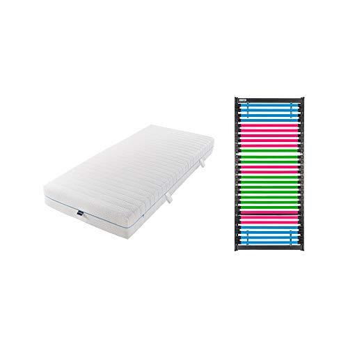 GOODSIDE Match 7 Fiberglas-Lattenrost inkl. wendbarer Federkernmatratze (22 cm hoch) - individuell anpassbar, Kopf- & Fußteil verstellbar, fertig montierter Rahmen, Festigkeit: Soft (90 x 200 cm)