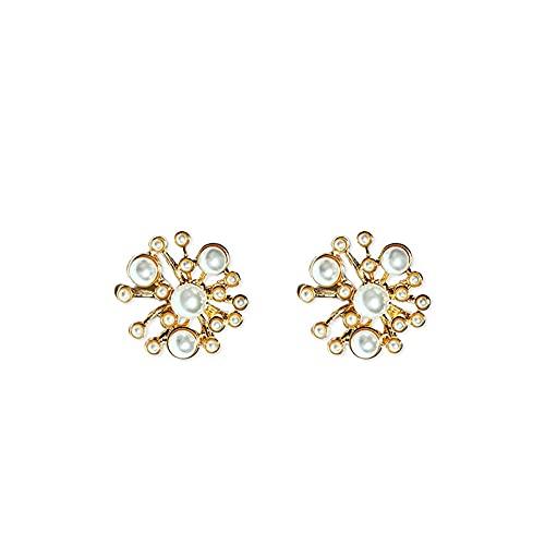 Pendientes de perlas Cellacity para mujer delicada plata 925 joyería elegante novia boda pendientes de copo de nieve flor