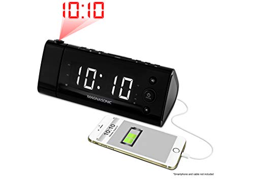 """Magnasonic USB Charging Alarm Clock Radio with Time Projection, Battery Backup, Auto Time Set, Dual Alarm, 1.2"""" LED Display for Smartphones & Tablets (EAAC475W)"""