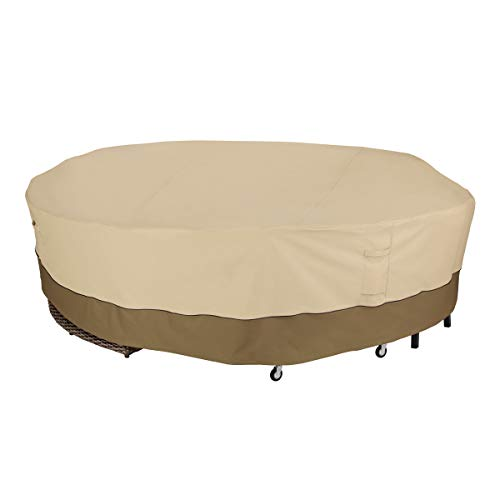 Classic Accessories 56-087-011501-00 Veranda Water-Resistant 128 Inch Round General Purpose Patio Furniture Cover,Pebble/Bark/Earth,128' Diameter