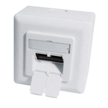 Datendose, Cat 6A EIA/TIA-568B, Keystone-Format, 2-fach, Aufputz / Unterputz, reinweiß RAL 9010