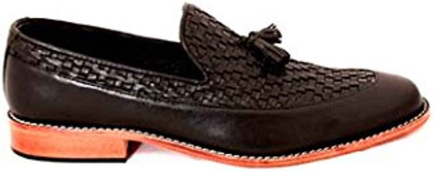 TAAVETTI Men's Casual Black Handmade Leather Ayer Loafer shoes