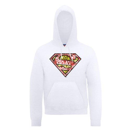 DC Comic DC0000266 Official Superman Cells Logo Sweat-Shirt à Capuche, Blanc-Blanc, Large Homme