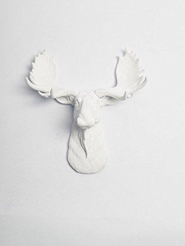 White Faux Taxidermy White Moose Head Wall Mount - The Mini Edmonton | Miniature White Resin Moose Head | White Moose Head Wall Decor | Moose Wall Mount Sculpture | Faux Animal Head Wall Mounts