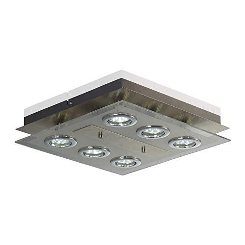 B.K.Licht - Lámpara plafón LED de forma cuadrada con 6 focos, con alta luminosidad para interior, con diseño elegante y de luz blanca cálida, 3W y 250 lúmenes, 3000K, color níquel mate