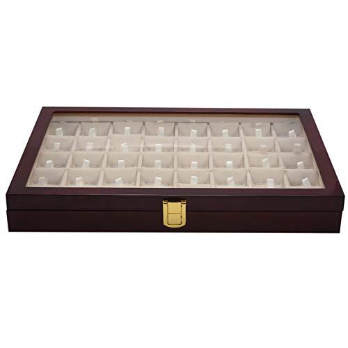 Katigan Caja de Almacenamiento de 40 Pares de Gemelos y Clip de Corbata para Hombres Caja de ExhibicióN de Joyería de ColeccióN de Pendientes de Anillo de Madera Pintada a