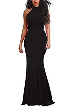 Berydress Women s Elegant Chic Halter Neck Sleeveless Solid Stretchy Mermaid Long Evening Dress  L 6075-Black