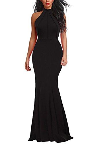 Berydress Women's Halter Neck Sheath Party Dress Sleeveless Floor-Length Long Evening Dress (M, 6075-Black)