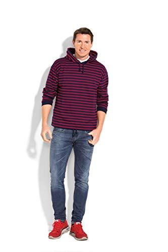modAS Bretonisches Herren Kapuzenshirt Streifen Pullover gestreift 29006 Größen (blau/rot (13), Größe XXXL Herren)