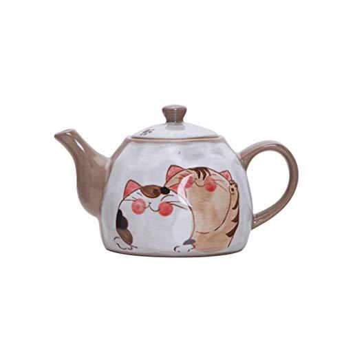 SCRFF Copa Tetera de la Taza de té Blanco de cerámica Agua Brown Caldera de la Porcelana de Bebida de té, la Tetera Hecha a Mano