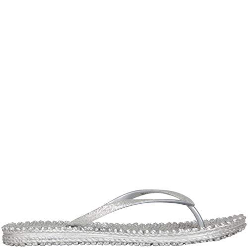Ilse Jacobsen Damen Sandalen flach | Flip Flops mit Riemen | Schuhe mit Sohle aus Bast | Glitter Look | CHEERFUL01 ,39 EU,Silber