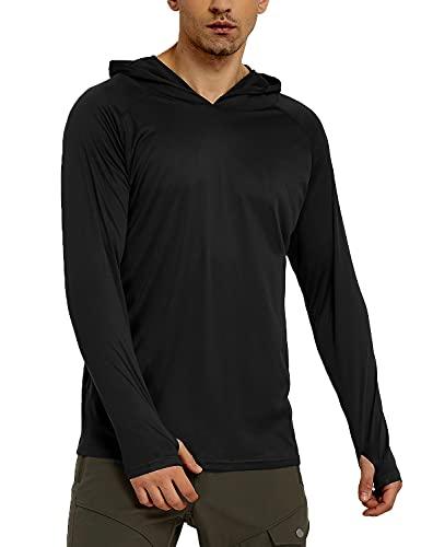 Safort Men's UPF 50+ Sun Protection Hoodie Long Sleeve T-Shirt for Running, Fishing, Hiking, Black M
