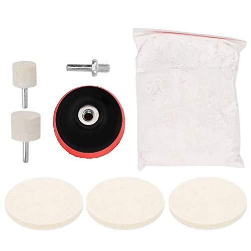 8 piezas/juego de almohadillas de pulido de lana para pulido de rueda de pulido y almohadilla de soporte para el procesamiento de relojes de vidrio para vehículos de motor