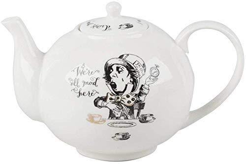 V&A Alice im Wunderland Teekanne in Geschenkbox, feines Porzellan, weiß, 1,1 Liter (6 Tassen) 5200025