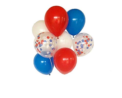 Balloons - Party - Red, White, Blue & Clear Confetti - 10 Balloons/Pack - Wholesale Distribution Centers is a Veteran Run Company