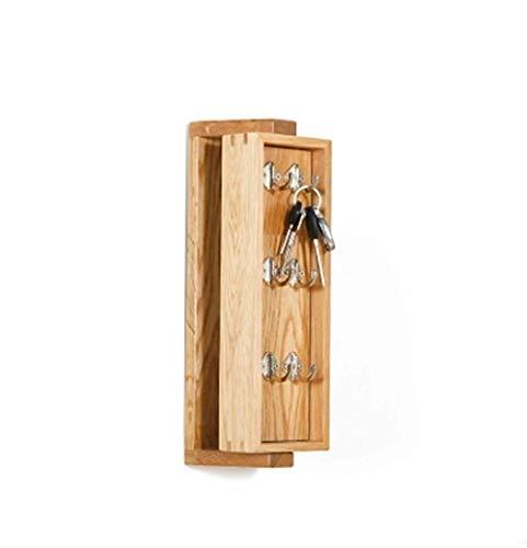 Wit eiken roterend sleutelkastje Volledig massief houten make-upspiegel Toegangssleutelkastje Muur opknoping opslag Houten muurhaak Kapstok