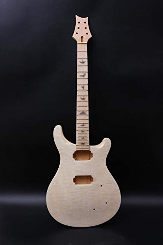 1set de guitarra kit de cuello de guitarra 22trastes acolchado de arce Cap de Guitarra Cuerpo de caoba Guitarra Arce Guitarra Diapasón DIY Guitarra