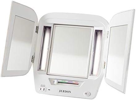 Jerdon JGL12W Trifold LED Lighted 5x 1x Mirror 3 6 Lb product image