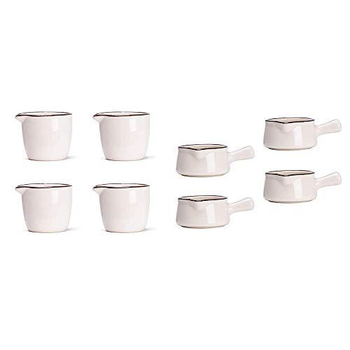 MDZF SWEET HOME 2 Pack Set of 4 Ceramic Creamer Jugs Mini Sauce Pitcher Milk Creamer Coffee Syrup Jar Server Dipping Bowls