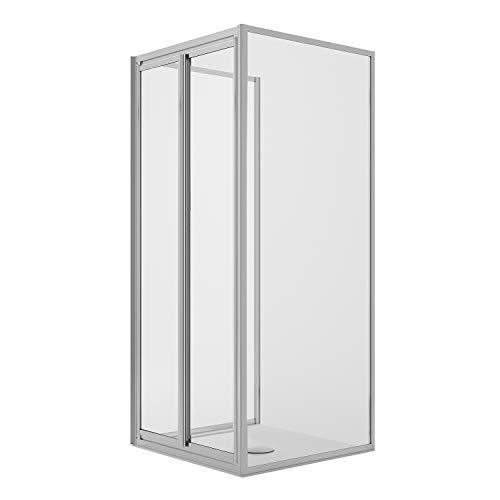 Idralite Dreiseitige Duschkabine 90x100x90CM H185 Klarglas 2 Festen Wänden+2 Saloon 100 Mod. Clint