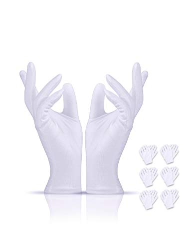 Donfri 6 pairs Cotton Cosmetic Moisturizing Therapy Gloves White Thin Gloves for OverNight Bedtime Cotton,for Men and Women Stretchable Cloth Gloves for Coin Jewelry Silver Inspection