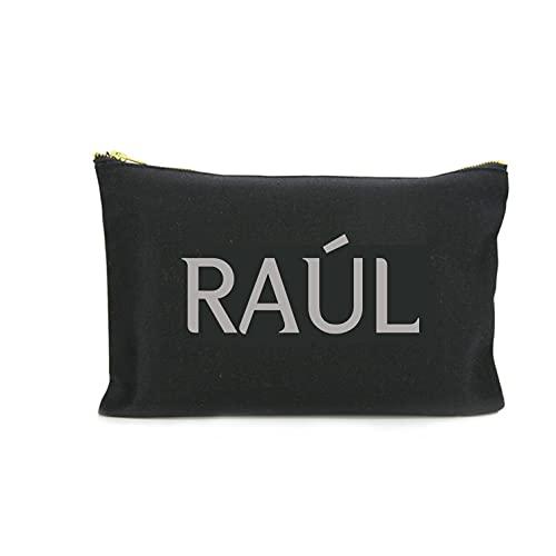 Neceser personalizado hombre. Bolsa de aseo, 2 tamaños. Selecciona tipo de letra y color Viaje Algodón ecológico negro. Hecho a mano en España.