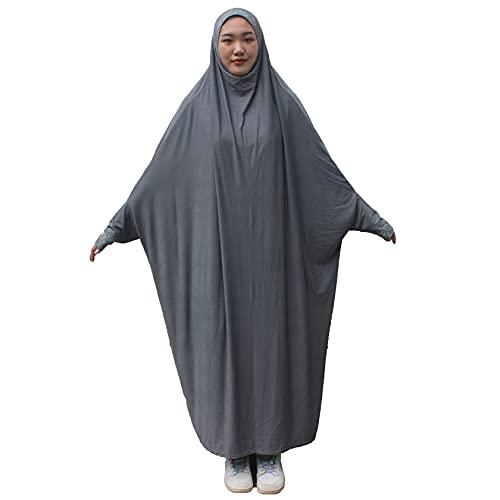 Vestido de oración de una sola pieza para mujer Musulmán Abaya Vestido islámico Maxi Abaya Kaftan con Hijab