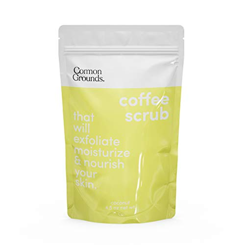 Coffee Body and Face Scrub (Coconut) - 100% Natural Arabica Best Exfoliating, Acne, Anti Cellulite, Stretch Marks, Varicose Vein Wash & Eczema Treatment. Dead Skin and Moisture Care. Made in Brooklyn