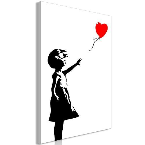 murando Quadro Banksy Ragazza con Palloncino 80x120 cm - 1 Pezzo Stampa su Tela XXL Immagini Moderni Murale Fotografia Grafica Decorazione da Parete i-C-0128-b-a
