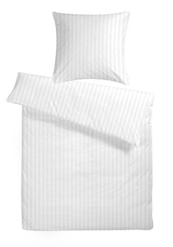 Carpe Sonno Luxus Damast Bettwäsche 155 x 220 cm Weiß - aus 100% Baumwolle robuster Qualitäts Reißverschluss - Weiße luxuriöse Hotelbettwäsche und Kopfkissen Bezug Set mit edlen Damast-Streifen
