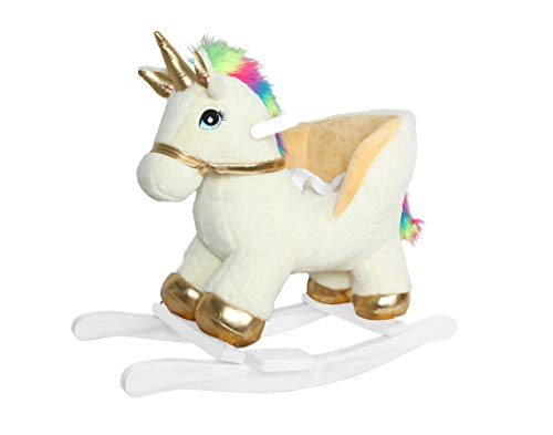 "Linzy Plush Fancy Unicorn Rocker W/Safety Belt & Sound, Gold & White, 21"" (L-36056)"