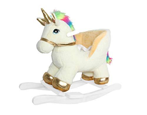Linzy Plush Fancy Unicorn Rocker W/Safety Belt & Sound, Gold & White, 21'