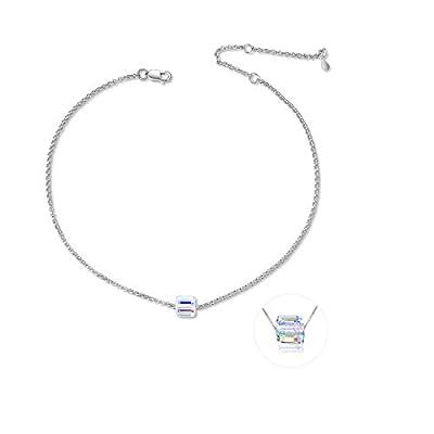 "Adjustable 10"" Gold Plated 925 Sterling Silver Anklet for Women Teens Girls with Swarovski Crystal"