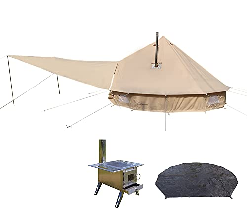 DANCHEL OUTDOOR Two Stove Jacket Bell Tent with Front Awning,Tent Wood Burning Stove and Footprint for Camping (13.1ft Diameter)