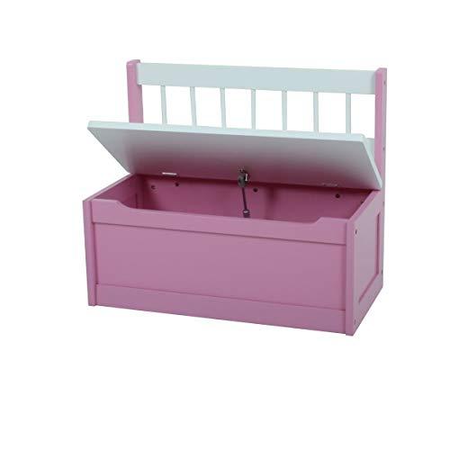 VARILANDO® Kinder-Truhenbank in 2 bezaubernden Farbvarianten Sitzbank Kinderbank Kindermöbel Kinder-Möbel (Pink) - 2