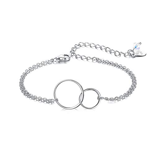 EVER FAITH Mother Daughter Bracelet 925 Sterling Silver Jewelry Gift Two Interlocking Infinity Double Circles Friendship Sister Bracelet