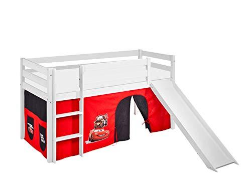 Lilokids Spielbett Jelle Disney Cars, Hochbett mit Rutsche und Vorhang Kinderbett, Holz, weiß, 198 x 98 x 113 cm