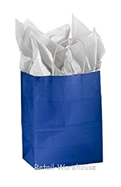"""Buy All Store Paper Shopping Bags 100 Glossy Royal Blue Merchandise 8 ¼"""" x 4 ¾"""" x 10 ½ H"""