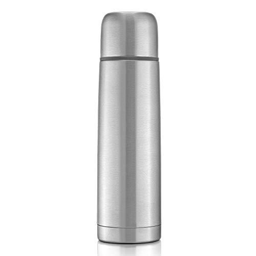 reer Edelstahl Isolier-Flasche PURE, 750 ml – klein, handlich, ideal für Baby, mit integriertem Becher, silber