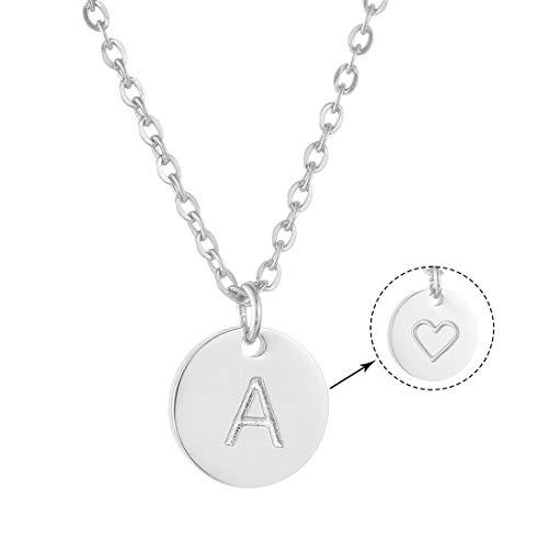 AFSTALR Damen Initialen Kette mit A Buchstaben Anhänger Silber Namenskette mit Herzen Geburtstagsgeschenk für Mädchen