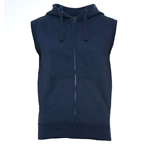 ROCK-IT Apparel® Zipped Hoodie ärmellos für Herren Sleeveless Fitness Kapuzenpullover Männer Sweater Trainingsweste Sweatshirt Tank Top S-4XL Farbe Navy Blau 3X-Large
