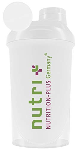 Compact Shaker (transparent) 500 ml für unterwegs - Sport Fitness Bodybuilding - mit Schraubverschluss und Siebeinsatz - BPA-frei - Nutri-Plus