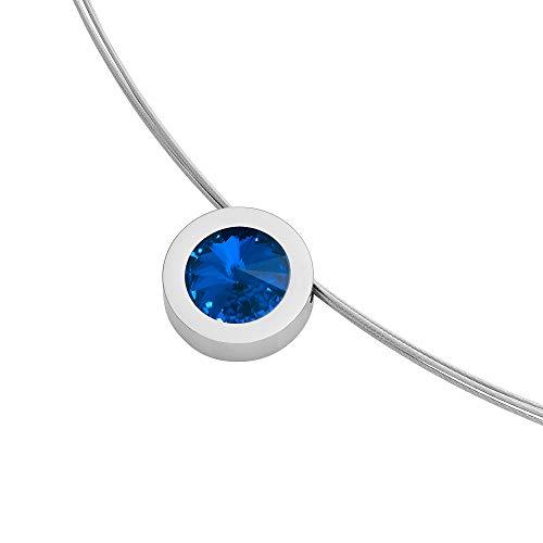Heideman Halskette Damen Coma 16 aus Edelstahl Silber farbend poliert Kette für Frauen mit Anhänger Swarovski Stein Kristall Sapphire blau im Fantasie Edelsteinschliff