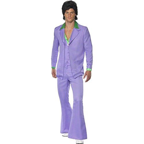 NET TOYS Disco Kostüm Herren 70er Jahre Outfit M 48/50, lila Discoanzug Schlager Herrenkostüm 60er Jahre Anzug Mottoparty Verkleidung
