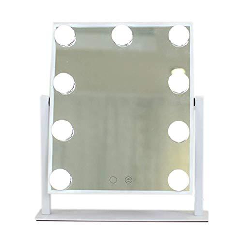 YXZQ Espejo de Maquillaje, LED Simple Moderno con 2 Luces Espejo de tocador para Mujer portátil Uso en el salón de casa, Blanco, 25 X 30 cm