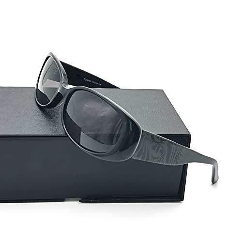 yui Gafas de sol rectangulares para mujer hombre Steampunk negro gafas de sol para hombre y mujer acetato vintage bloqueador del sol (Color de la lente: Negro)