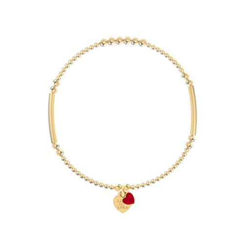 Lora di Lora Pulsera Candy-Scarlet Red. Una cuerda individual Vermeil Oro para mujer 17. cm
